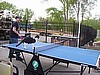 Jamie and Stevie play table tennis